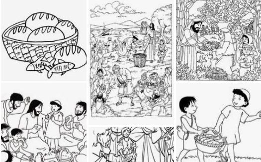 Bible Coloring Page for Kids | Jesus Feeds 5000 | 325x525