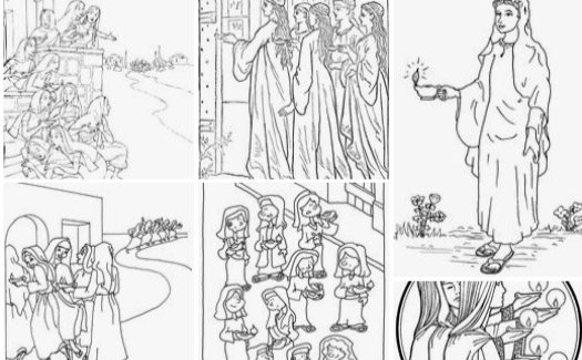 Coloring Page Of Parable Of Ten Virgins Royalty Free Cliparts ... | 325x525