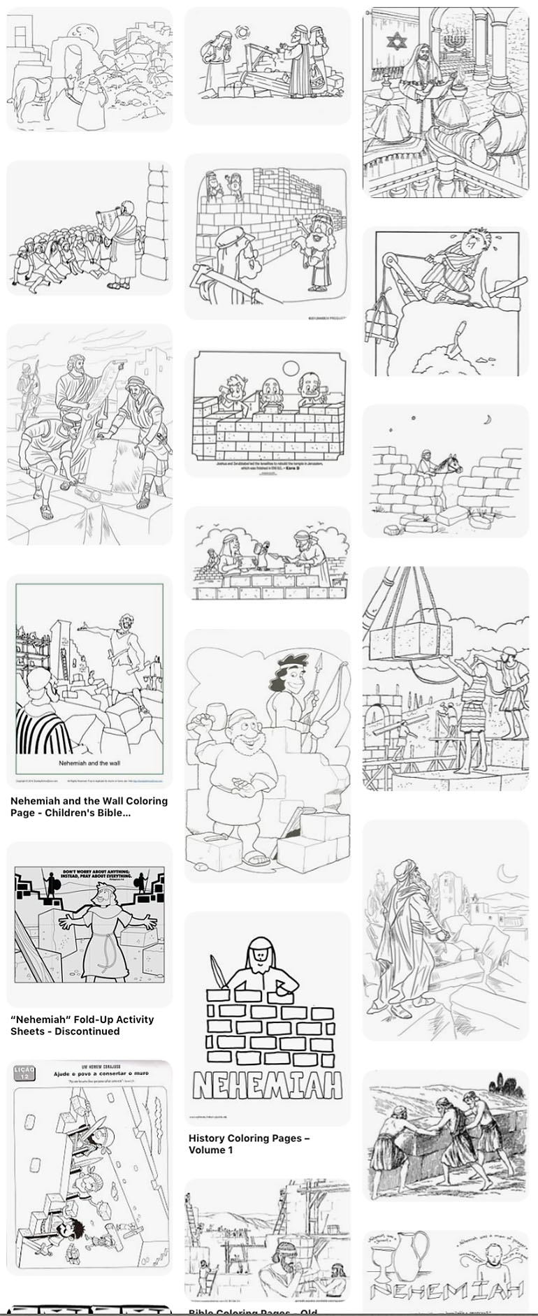 Nehemiah and the Wall Coloring Page - Children's Bible Activities ... | 1883x770