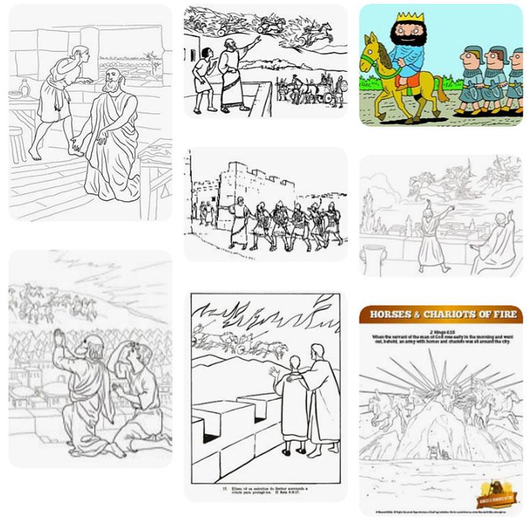 Coloring (Elisha Witnesses Elijah's Departure) - Kids Korner ... | 761x770